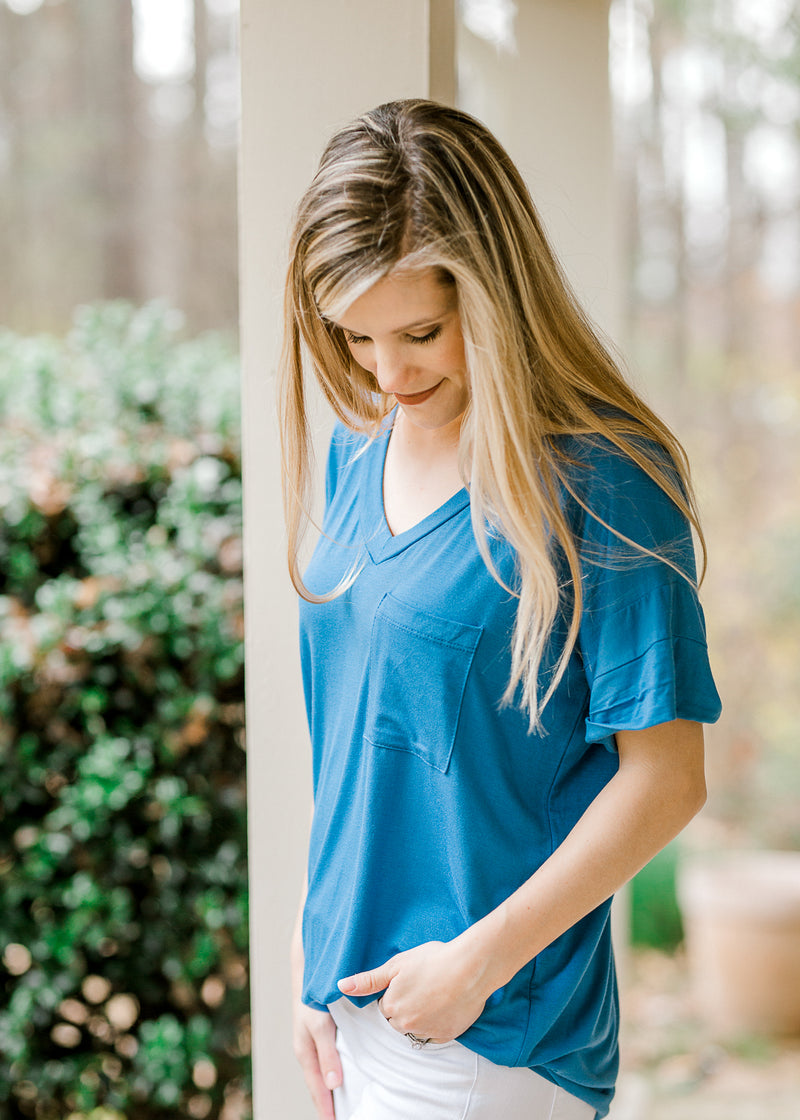 blue tee with a pocket side view - epiphany boutiques