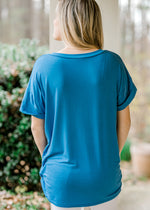 back view of blue boyfriend tee - epiphany boutiques