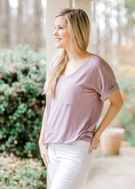 boyfriend tee in lavender short sleeve - epiphany boutiques