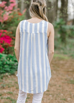 baby blue and white top back view - epiphany boutiques