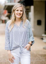 navy and white top - epiphany boutiques
