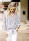 navy and white top with buttons - epiphany boutiques