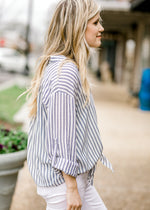 blue and white top with collar - epiphany boutiques