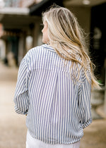 back view of stripe navy and white shirt - epiphany boutiques