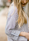 roll up sleeve navy and white top - epiphany boutiques