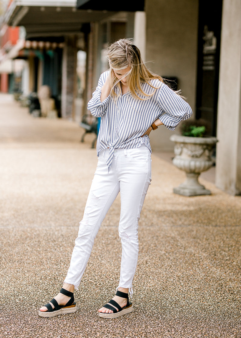 navy and white striped top - epiphany boutiques