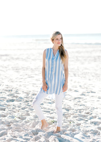 sky blue and white striped top -  epiphany boutiques