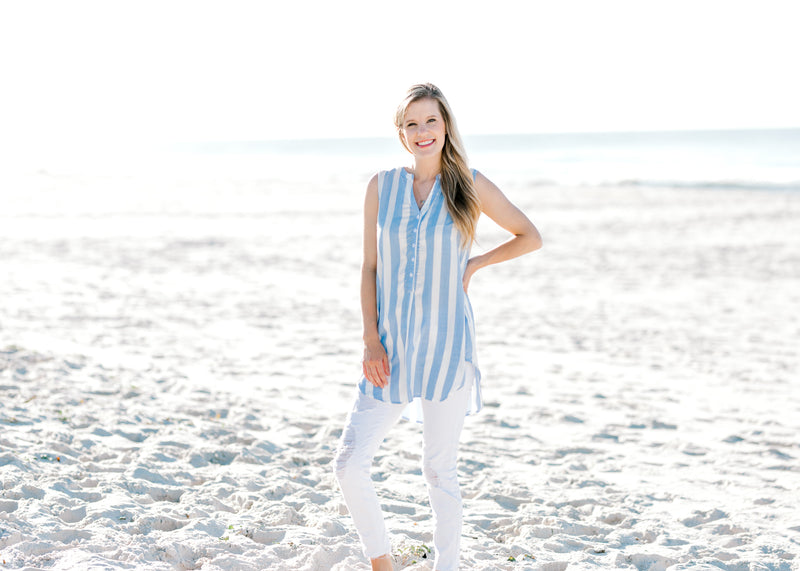 sky blue and white button v neck top -  epiphany boutiques