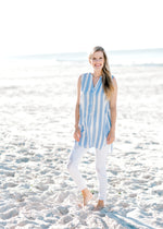 white and sky blue striped top -  epiphany boutiques