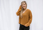 bronze v neck knit sweater -epiphany boutiques