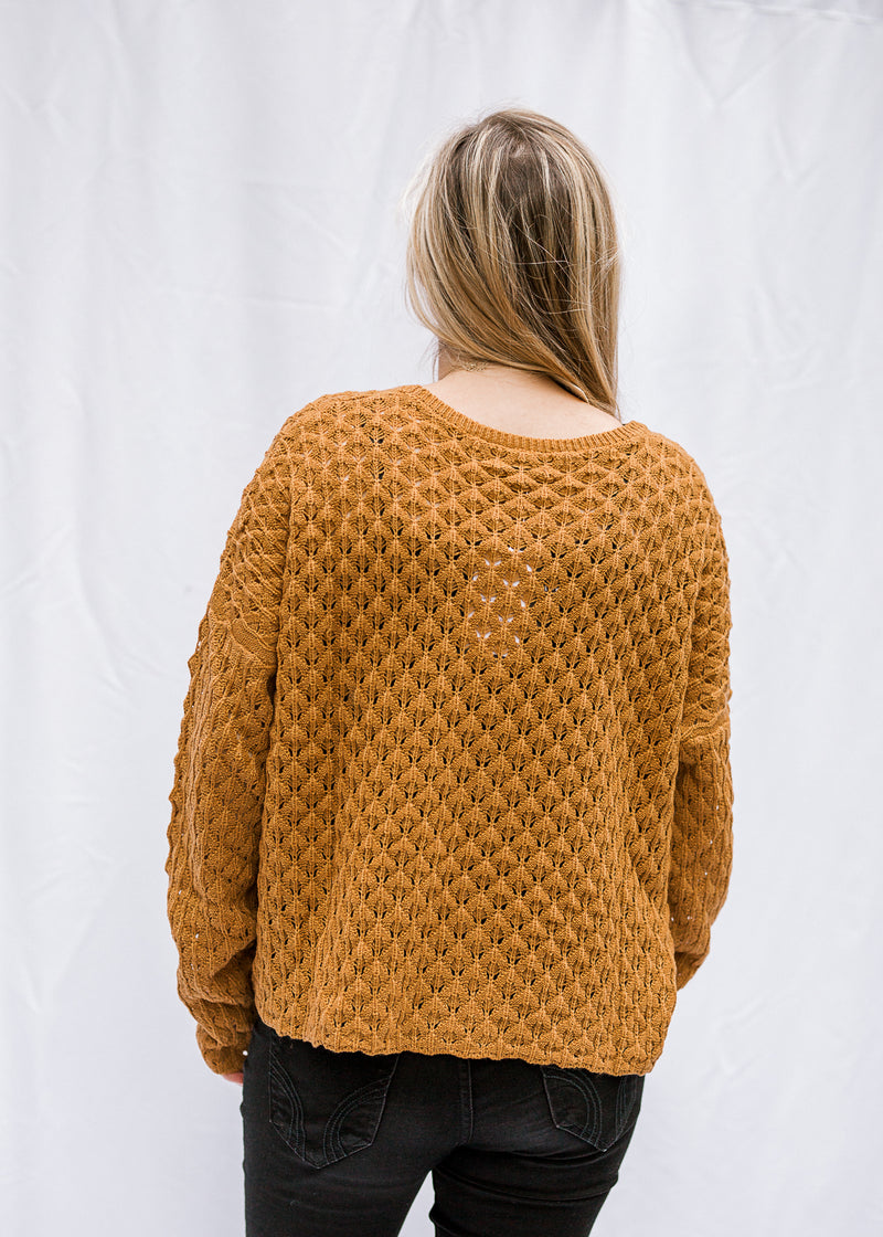 bronze sweater back view - epiphany boutiques
