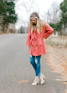 Brushed Knit Hooded Button Cardigan in Rose