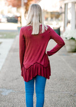 X Burgundy Ruffle Top