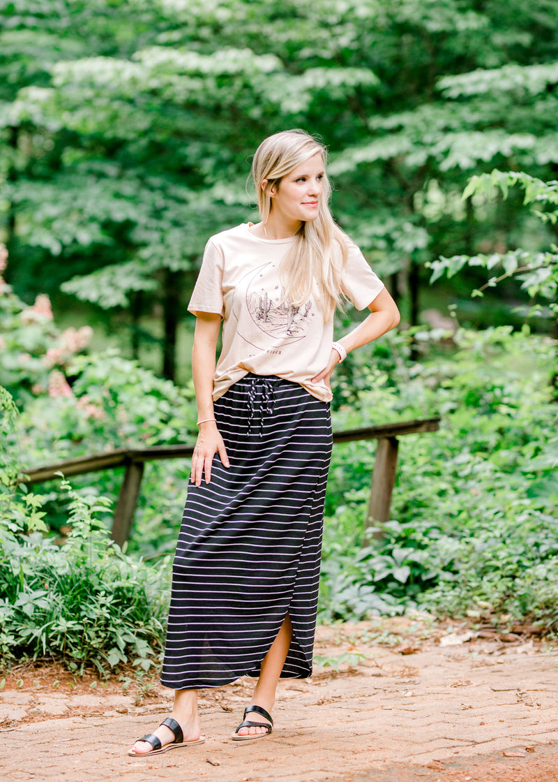black and white striped skirt - epiphany boutiques
