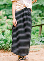 black and white skirt with drawstrings - epiphany boutiques