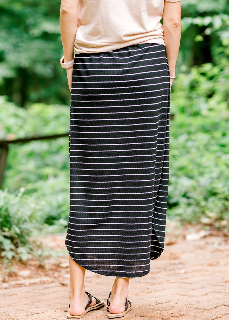 black and white striped skirt back view - epiphany boutiques