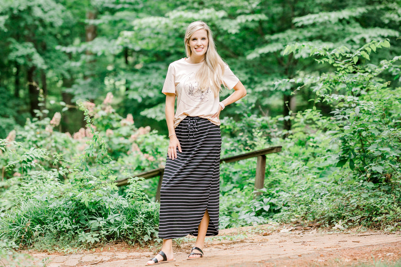 model in a black and white casual skirt - epiphany boutiques