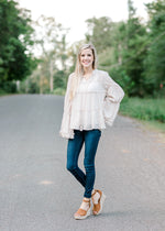 champagne tiered top with tassels - epiphany boutiques