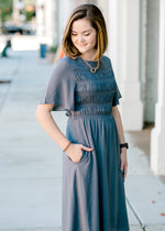 charcoal midi dress with pockets - epiphany boutiques