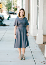 midi charcoal colored dress - epiphany boutiques