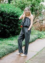 jumpsuit in charcoal grey - epiphany boutiques