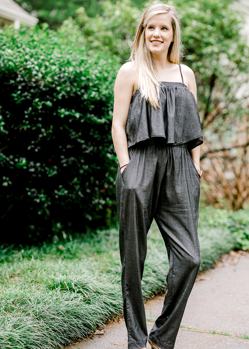 model in charcoal jumpsuit - epiphany boutiques