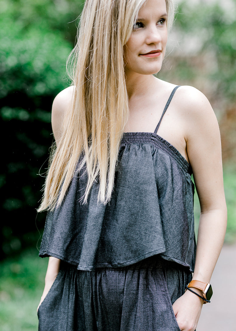 charcoal grey jumpsuit - epiphany boutiques