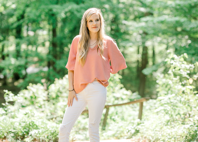 v neck top in salmon - epiphany boutiques