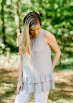 gathered neckline silver top - epiphany boutiques