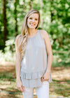 silver sleeveless top - epiphany boutiques