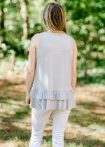 silver sleeveless top back view - epiphany boutiques
