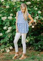 blue top with ruffle sleeves -  epiphany boutiques