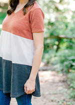 color block short sleeve tunic - epiphany boutiques