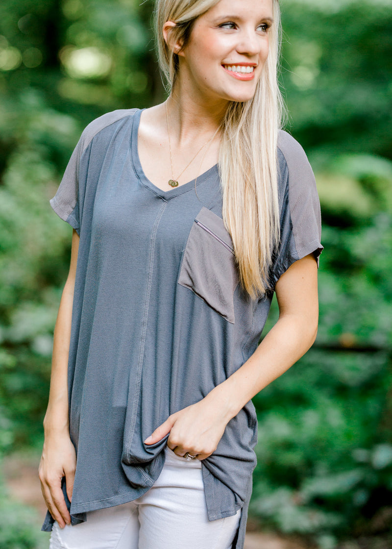 short sleeve grey shirt - epiphany boutiques