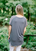 two toned grey top - epiphany boutiques