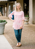 X Coral Striped Top for the Bump