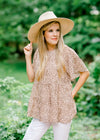 blush pink and brown dot top - epiphany boutiques
