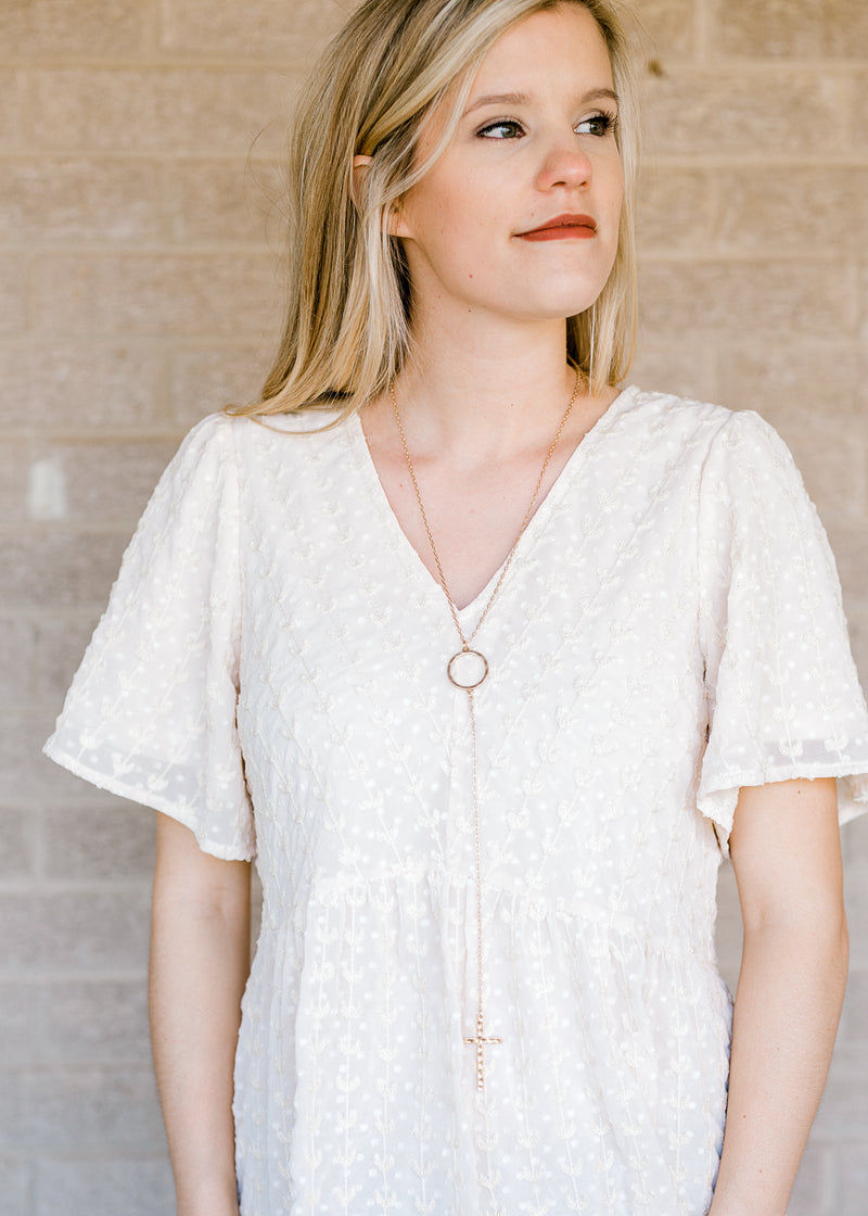 y necklace in gold with cross - epiphany boutiques