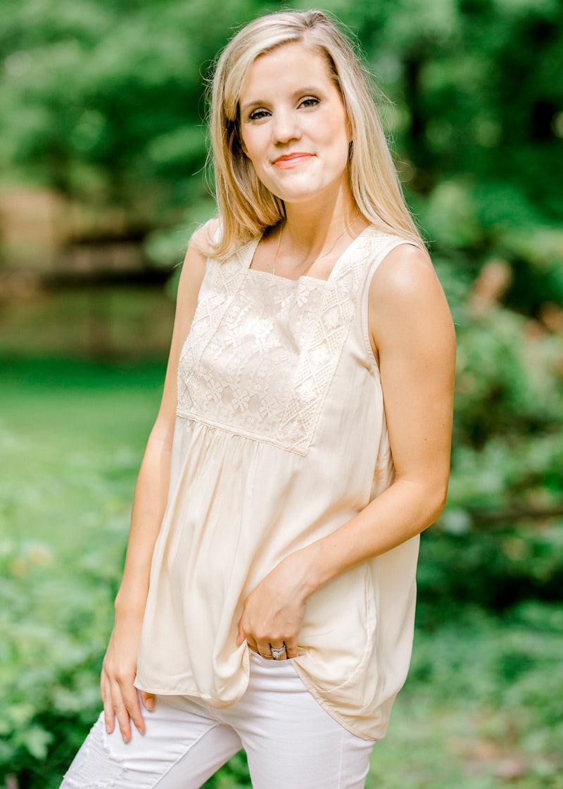 sleeveless cream top - epiphany boutiques