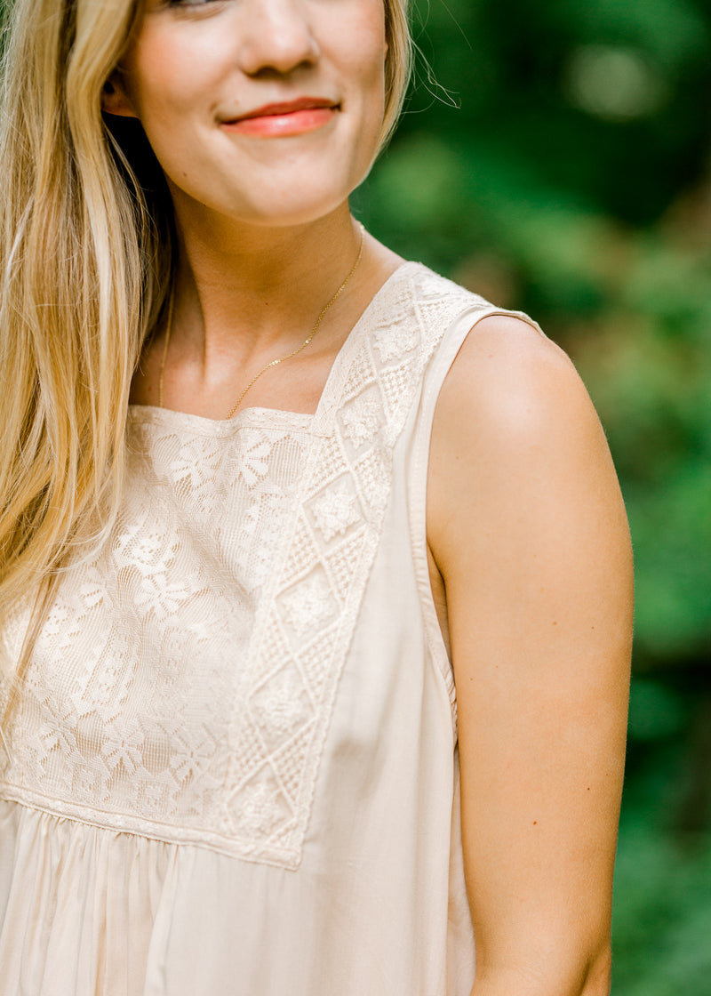 lace detail on cream top - epiphany boutiques