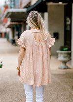 v back cut on coral tunic - epiphany boutiques