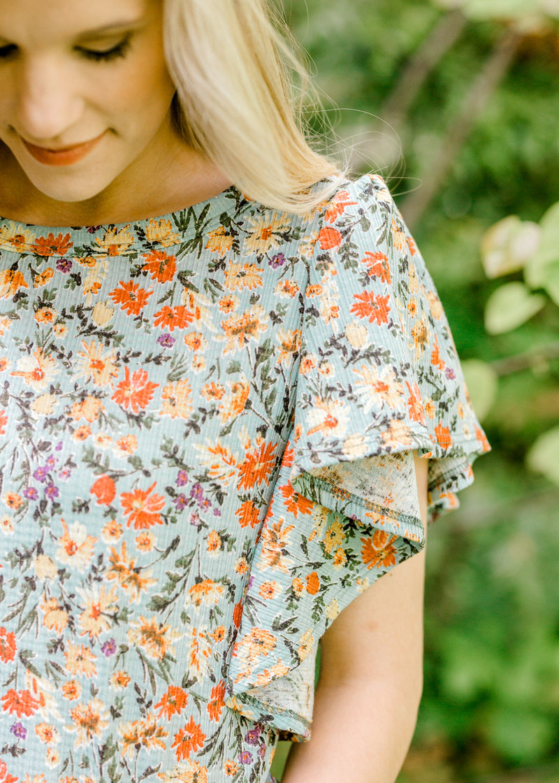Daisy Do Floral Top in Sage