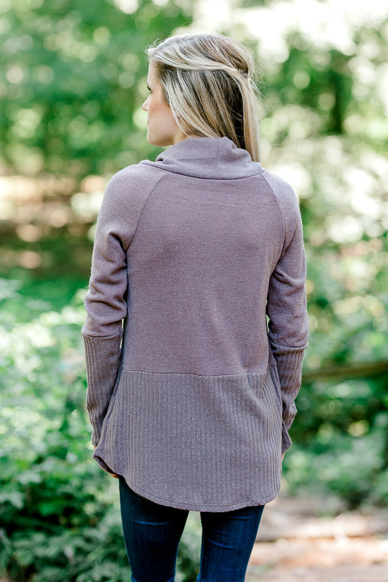 dusty mauve sweater back view - epiphany boutiques