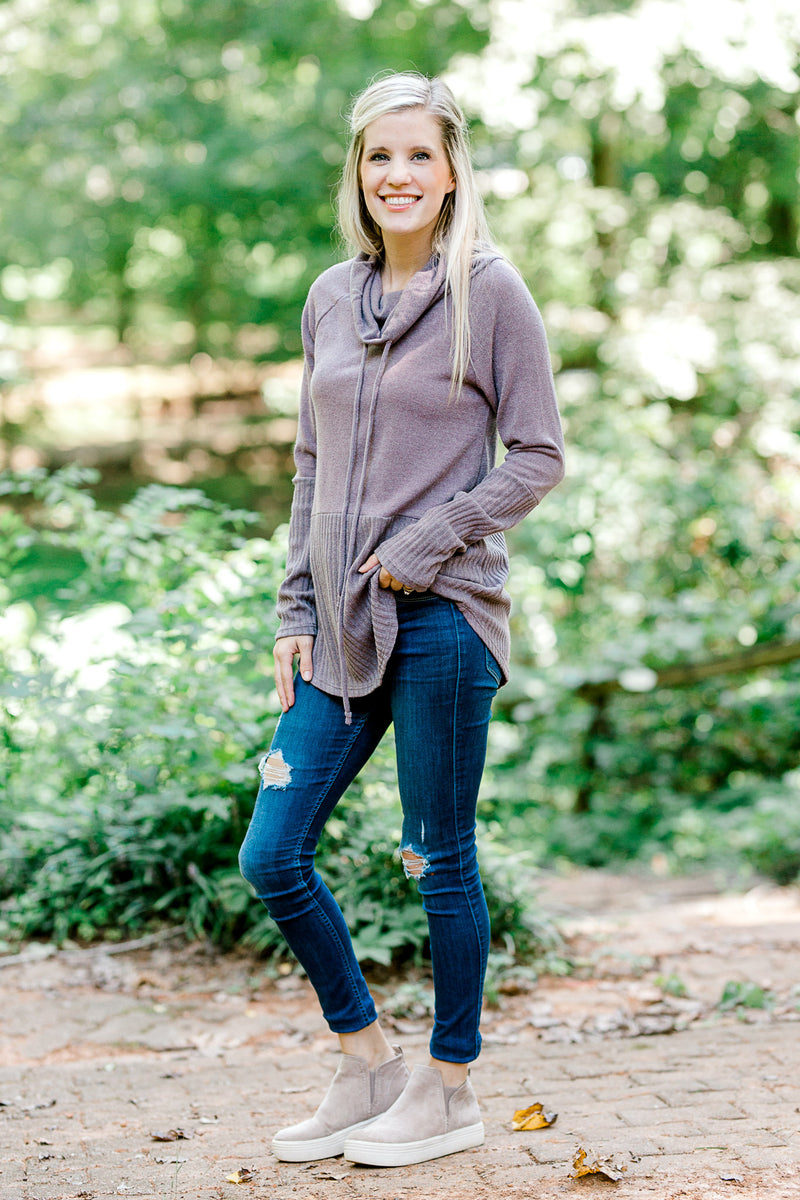ribbed mauve top with cowl neck collar - epiphany boutiques