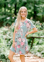 Deja Vu Sage Floral Dress