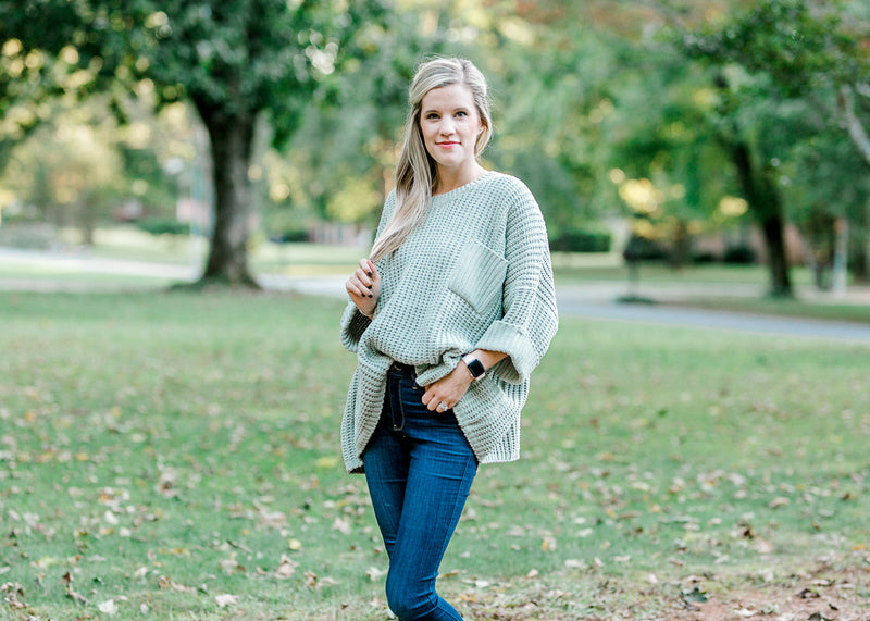 chunky sage sweater -  epiphany boutiques