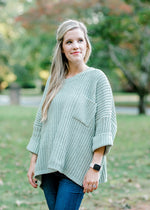 sage sweater with pocket -  epiphany boutiques