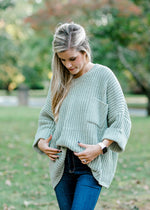 oversized sage sweater with pocket -  epiphany boutiques