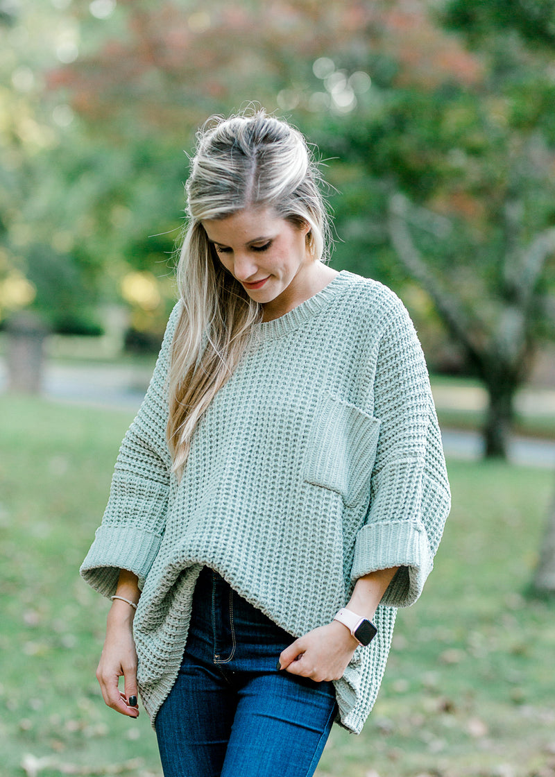 simple sage sweater -  epiphany boutiques