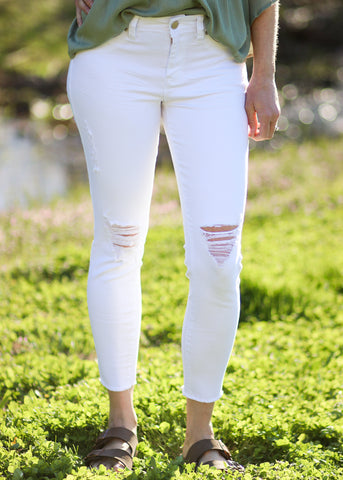 Fancy Free Fray Ankle Jeans